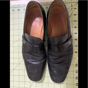 Gucci designer black loafer slip on GG shoes 7.5